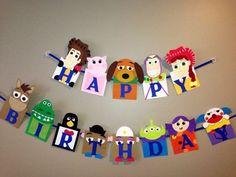 Handmade Toy Story happy birthday banner by Craftophologie on Etsy Fête Toy Story, Toy Story Theme, Toy Story Birthday, Toy Story Party, Toy Story Crafts, 4th Birthday Parties, Happy Birthday Banners, 3rd Birthday, Birthday Ideas