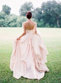 romantic blush wedding gown