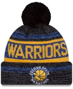 New Era Golden State Warriors Hardwood Classics Snow Dayz Knit Hat - Black Adjustable