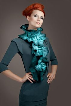 Ruffled felt scarf made with merino wool and silk