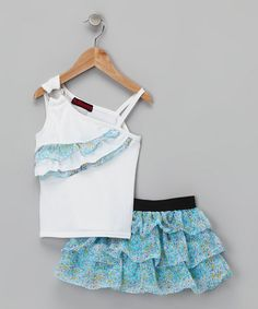 Take a look at this Blue Asymmetrical Top & Skirt - Infant by Dollhouse on #zulily today!