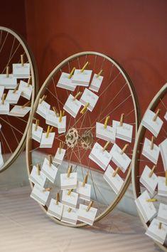 #bicyclewheeldecor #seatingassignment #escortcarddislplay @weddingchicks
