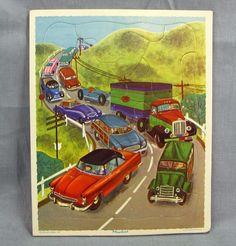 "Playskool Traffic Jam Frame Tray Puzzle Vintage Litho 8x10"" Cars Trucks Woody  #Playskool"