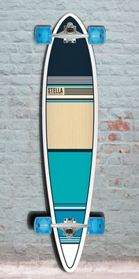 Longboard Pintail Aqua Blue Classic Stella Skateboard - Complete from Longboards USA. Saved to A Pintail Longboard Collection. Longboard Design, Skateboard Design, Board Skateboard, Skateboard Decks, Sup Surf, Skate Surf, Skates, Pintail Longboard, Standup Paddle Board