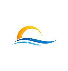 Abstract water beach sunset logo on VectorStock