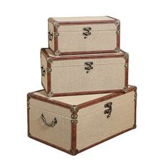 Use them as a storage system or a set of retro accent pieces, or take the plunge and travel with this set of 3 trunks. Whatever you do, rest assured that your travel system (or d̩cor pieces) will be the most unique of the bunch.
