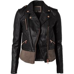 River Island Canvas Mix Pu Biker (1.295 ARS) ❤ liked on Polyvore featuring outerwear, jackets, coats, tops, coats & jackets, black, womens-fashion, zip jacket, pu biker jacket and collar jacket