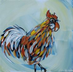 Canvas Painting Ideas for Beginners | Rooster original acrylic painting on canvas by ... | Art Ideas