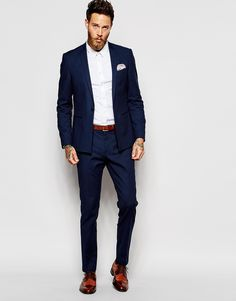 Men's Suits - Image 4 of ASOS Skinny Fit Suit Pants - rich photos Blue Suit Men, Navy Blue Suit, Black Suits, Navy Fitted Suit, Tailored Suits, Formal Suits, Men Formal, Costume Marie Bleu, Skinny Fit Suits
