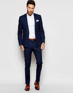 Image 4 - ASOS - Pantalon de costume skinny - Bleu marine