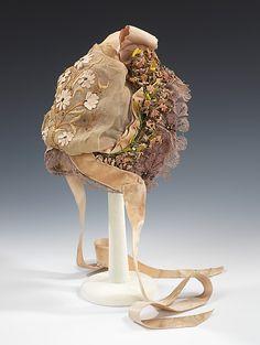 1885 Bonnet Culture: French Medium: silk, cotton, metal