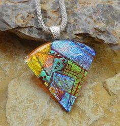 Copper Dichroic Fan Shaped Pendant Statement Piece by GlassCat