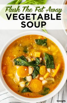 Comfort food made healthy Yup we pulled it off with this flush the fat away vegetable soup weight loss recipes for weight loss healthy soup recipes Healthy Soup Recipes, Detox Recipes, Healthy Snacks, Vegetarian Recipes, Healthy Eating, Cooking Recipes, Cooking Bacon, Meal Recipes, Weightloss Soup Recipes