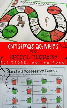 NO PREP Christmas themed activities for working on language skills in speech therapy