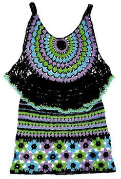Conjunto tejido a crochet en hilos Textil Amazonas en colores negro, celeste, lila y verde manzana, talla M