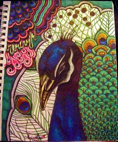 Peacock by shabukib on DeviantArt | Traditional Art / Drawings / Psychedelic