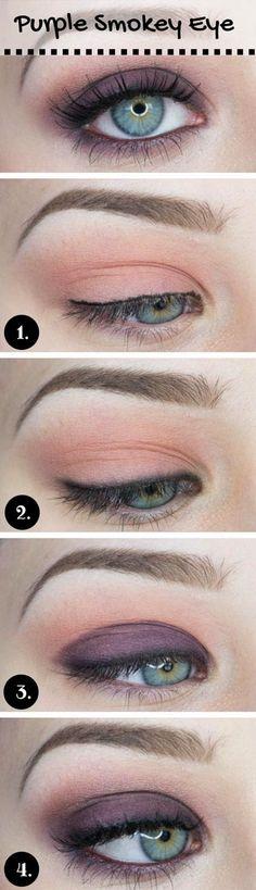 Gorgeous Makeup Looks Blue Eyes Purple-Smokey-Makeup