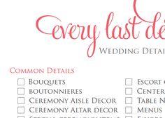 12 Month Wedding Checklist - 17 Pages Wedding Planner Checklist ...