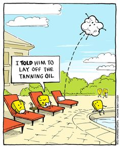 "Too much oil. - ""The Daily Drawing"" by Lorie Ransom; Cartoon Jokes, Funny Cartoons, Funny Jokes, Food Jokes, Hilarious, Summer Jokes, Summer Humor, Funny Images, Funny Pictures"
