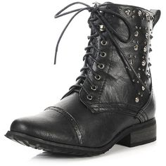 Black On The Spike Side Combat Boots | $20.50 | Cheap Trendy Boots... ($21) ❤ liked on Polyvore featuring shoes, boots, spiked combat boots, combat booties, black combat booties, kohl boots and black military boots