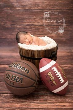 This with basketball and baseball or basketball, baseball and volleyball. Baby Girl Pictures, Newborn Pictures, Newborn Shoot, Baby Boy Newborn, Baby Boy Photography, Children Photography, Sweet Baby Pic, Sports Baby, Baby Poses