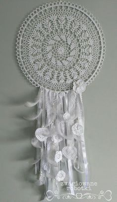 Łapacze snów Dream Catcher Mandala, Dream Catchers, Crochet Doilies, Decoupage, Feather, Crafts, Diy, Home Decor, Mandalas