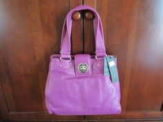 NEW Marc Jacobs Posh Electric Violet Posh Turnlock Tote Leather Purple