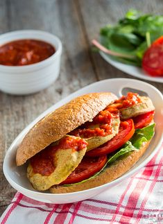 Crunchy on the outside tender on the inside battered & baked eggplant makes a delicious vegan version of the classic New Orleans sandwich. Oven Fried Eggplant, Vegan Eggplant, Eggplant Recipes, Whole Food Recipes, Vegan Recipes, Free Recipes, Vegan Food, Hawaiian Baked Beans, Veggie Sandwich