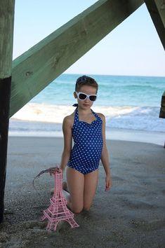 Azul real y blanco lunares Retro una sola pieza niñas traje de baño hecho a la medida tallas 2-12