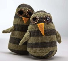 Sew up a cute owl or a pair of owls with this fun sewing tutorial using socks. Give these little owl sock friends as gifts. They are sure to put a smile on anyone's face. Project excerpted from Socks Appeal: 16 fun & funky friends sewn from socks by Brenna Maloney published by C Publishing.