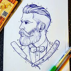 Style of illustration; qualities of line; black Not blue) Profile with varied hair textures