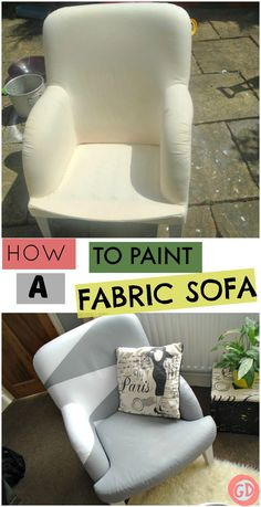 See how I transformed my cotton fabric IKEA sofa using valspar wall paint.