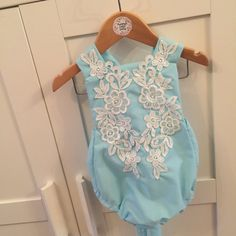 Handmade lace applique tie back romper and headwrap, babies, toddlers, baby suit, baby grow, romper, lace, floral,