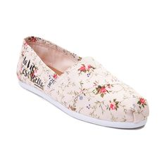 "Put a little Spring in your step with the new Classic Floral Slip On Casual Shoe from TOMS! These elegant Classics flaunt whimsical floral prints with ""la vie est Belle"" script graphics, printed on a soft textile upper. Available for shipment in February; Pre-order yours today!    Features include   Soft textile upper with breathable canvas lining   TOMS toe-stitch and elastic V for easy on and off   Classic suede insole with cushion for comfort   Latex arch insert for added suppor..."