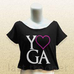 Love Yoga crop tee top womens tops tank gym shirt vegan vegetarian humor punk 5 #Handmade