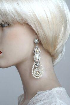 Pearl Chandelier Bridal Earrings Gold Wedding Earrings Rhinestone ...