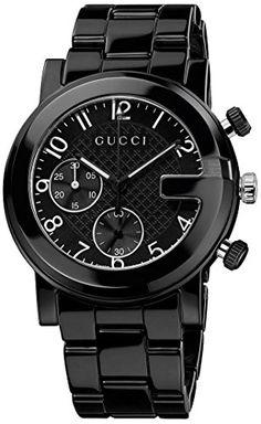 3ec0f82dd80 Gucci Men s YA101352 Gucci G – Chrono Collection Analog Display Swiss  Quartz Black Watch