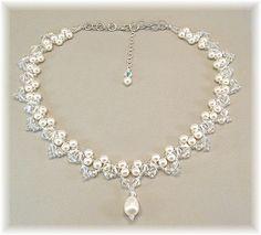 Weiß oder Creme Perlen und Crystal Bridal von BridalDiamantes