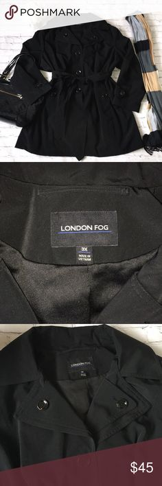 London Fog Rain Coat/coat London Fog 3x rain coat/trench coat/coat ...never worn!!!  The back vent is still sewn ...removable hood...polyester/ cotton...gorgeous...very rich looking London Fog Jackets & Coats Trench Coats
