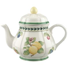 Dzbanek do herbaty, l - Villeroy & Boch - French Garden Fleurence ! Chocolate Pots, Chocolate Coffee, Porcelain Ceramics, China Porcelain, Porcelain Dinnerware, Painted Porcelain, Porcelain Tiles, Yellow Teapot, Country Stil