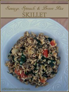 Sausage, Spinach, and Brown Rice Skillet