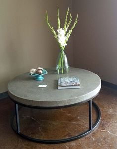 "Large 48"" round coffee table in Charcoal.  Customize your piece in the perfect color and size for your home."