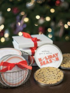 Homemade chocolate chip cookies are always a favorite goodie. Embellish CD tins with our free printable templates to turn this tasty treat into a clever holiday card.  http://www.hgtv.com/handmade/25-homemade-holiday-food-gift-recipes/pictures/page-2.html?soc=pinterest