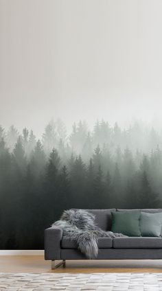 Living Room Wallpaper Inspiration : One of the biggest trends in wall design ombre fades are pleasing to both the e Forest Wallpaper, Wood Wallpaper, Modern Wallpaper, Wallpaper Murals, Wall Design, House Design, Ombre Wallpapers, Forest Mural, Forest Design