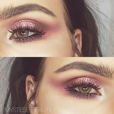 E Y E S  Loving bushy brows these days.  eyes @makeupgeekcosmetics  Brows, highlighter @colourpopcosmetics  Foundation @beccacosmetics Lashes @xobeautyshop  #mystesebeauty #makeupgeek #makeupideas #colourpop #mattelips #pinkmakeup #highlighter #hourglasscosmetics #xobeauty #beccacosmetics #shaaanxo #contour #lashes #catears #motd #fashion #style #glittereyes #nz #glitter #contactlenses