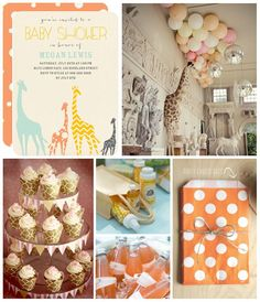 Playful patterns and sherbet shades make this giraffe themed baby shower whimsical yet elegant.