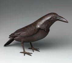 Metalwork Okimono (objet d'art) in the Form of a Raven. Maker :  Myōchin Munesuke, Japan early 18th Century