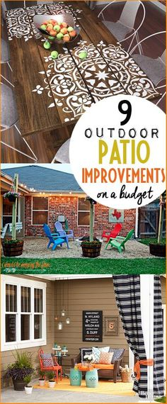 9 Outdoor Patio Improvements on a Budget.  Easy tips to re-creating a stunning yard.  Simple renovations and additions to spice up your porch or patio.  Shade solutions, ways to restore furniture and creative lighting.
