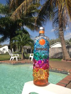 Bedazzled peach Ciroc bottle  by BedazzledBottles on Etsy, $70.00