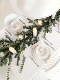 Could use eucalyptus instead of evergreen at Christmas so we don't set off allergies to pine trees. Better alternative than fake greenery made from lead and harmful chemicals. Christmas Table Centerpieces, Candle Wedding Centerpieces, Christmas Table Settings, Christmas Tablescapes, Christmas Decorations, Holiday Decor, Tree Decorations, Silver Christmas, Noel Christmas